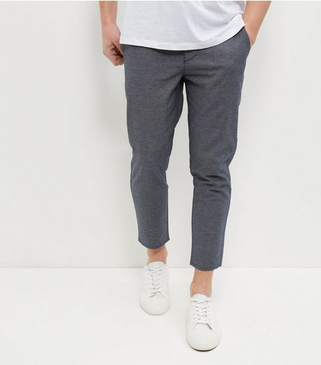 Blue Textured Tapered Trousers | New Look