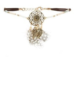 Brown Dreamcatcher Beaded Feather Choker | New Look