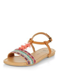 Teens Tan Aztec Print Tassel Sandals  | New Look