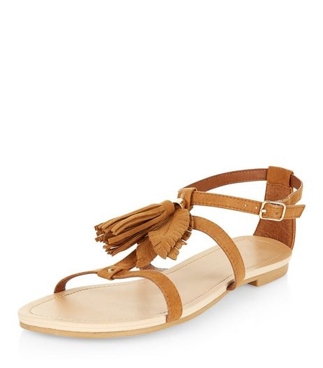 Teens Tan Suedette Fringe Front Sandals  | New Look