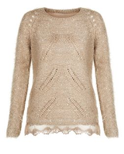 Tenki Brown Sequin Lace Trim Jumper  | New Look