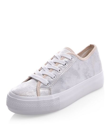 Silver Metallic Lace Up Flatform Plimsolls  | New Look