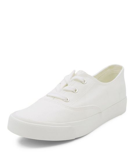 White Contrast Lace Up Plimsolls  | New Look