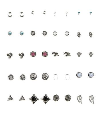 20 Pack Black Stud Earrings
