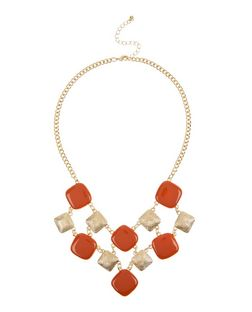 Brown Square Bib Necklace | New Look
