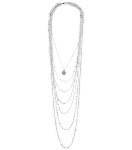 Silver Crystal Layered Chain Necklace  | New Look