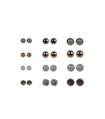 12 Pack Multicoloured Stud Earrings