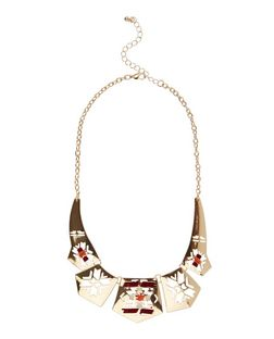 Brown Suede Wrap Aztec Cut Out Necklace  | New Look