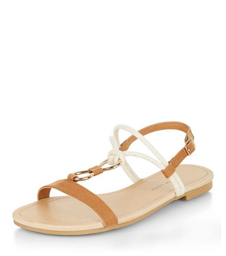 Teens Tan Rope Strap Sandals  | New Look