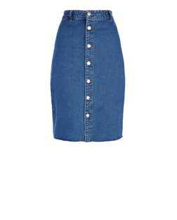 Blue Button Front Fray Hem Denim Midi Skirt  | New Look