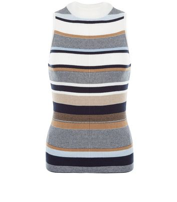 White Stripe Funnel Neck Sleeveless Top