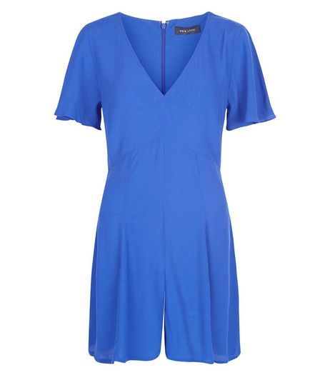 Blue Flutter Sleeve Playsuit  | New Look