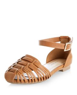 Wide Fit Tan Woven Anke Strap Pumps  | New Look