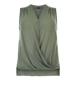 Plus Size Khaki Wrap Sleeveless Top | New Look