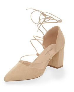 Wide Fit Stone Suedette Pointed Ghillie Heels  | New Look