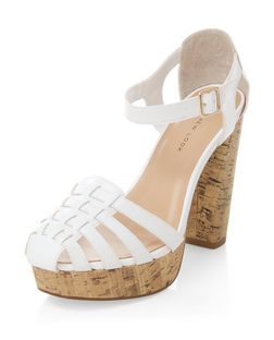Wide Fit White Gladiator Cork Platform Heels  | New Look