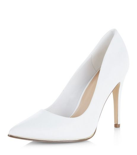 Wide Fit White Pointed Court Shoes  | New Look