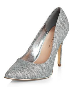 Wide Fit Silver Glitter Pointed Court Shoes  | New Look