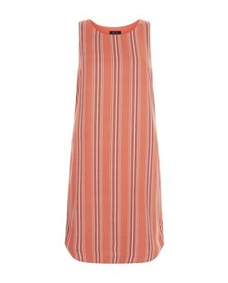 Orange Stripe Sleeveless Tunic Dress  | New Look