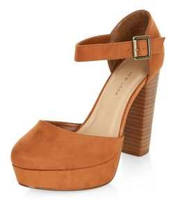 Wide Fit Tan Suedette Ankle Strap Platform Block Heels  | New Look
