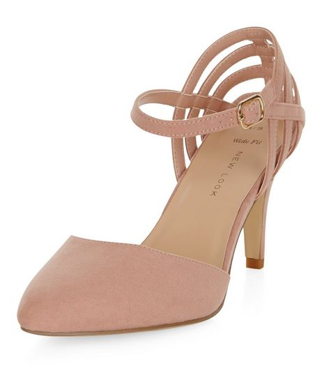 Wide Fit Nude Suedette Caged Pointed Heels  | New Look