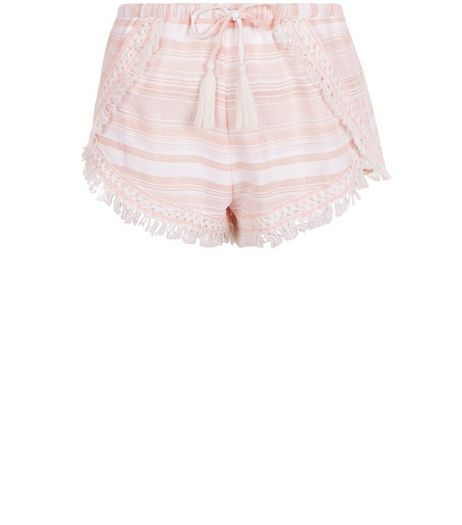 Pink Stripe Crochet Trim Shorts  | New Look