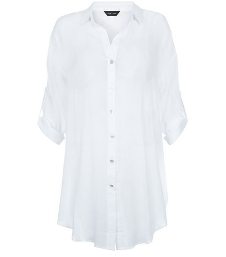 White Sheer Longline Beach Shirt | New Look