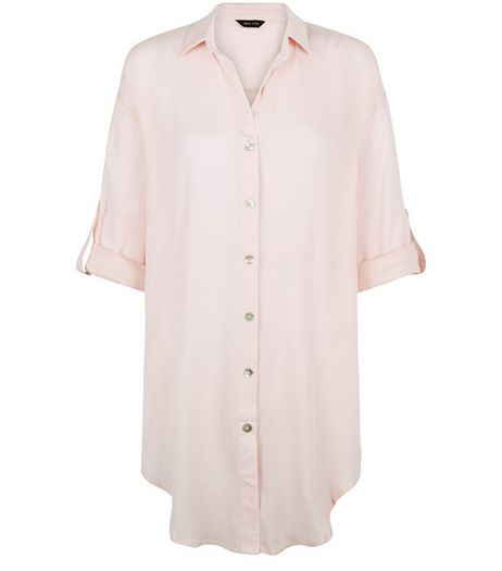 Pink Sheer Longline Beach Shirt | New Look