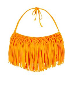 Orange Fringed Flounce Bikini Top | New Look