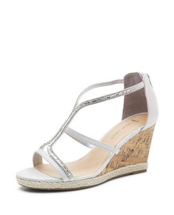 Wide Fit Silver Suedette Embellished Wedge Sandals | New Look