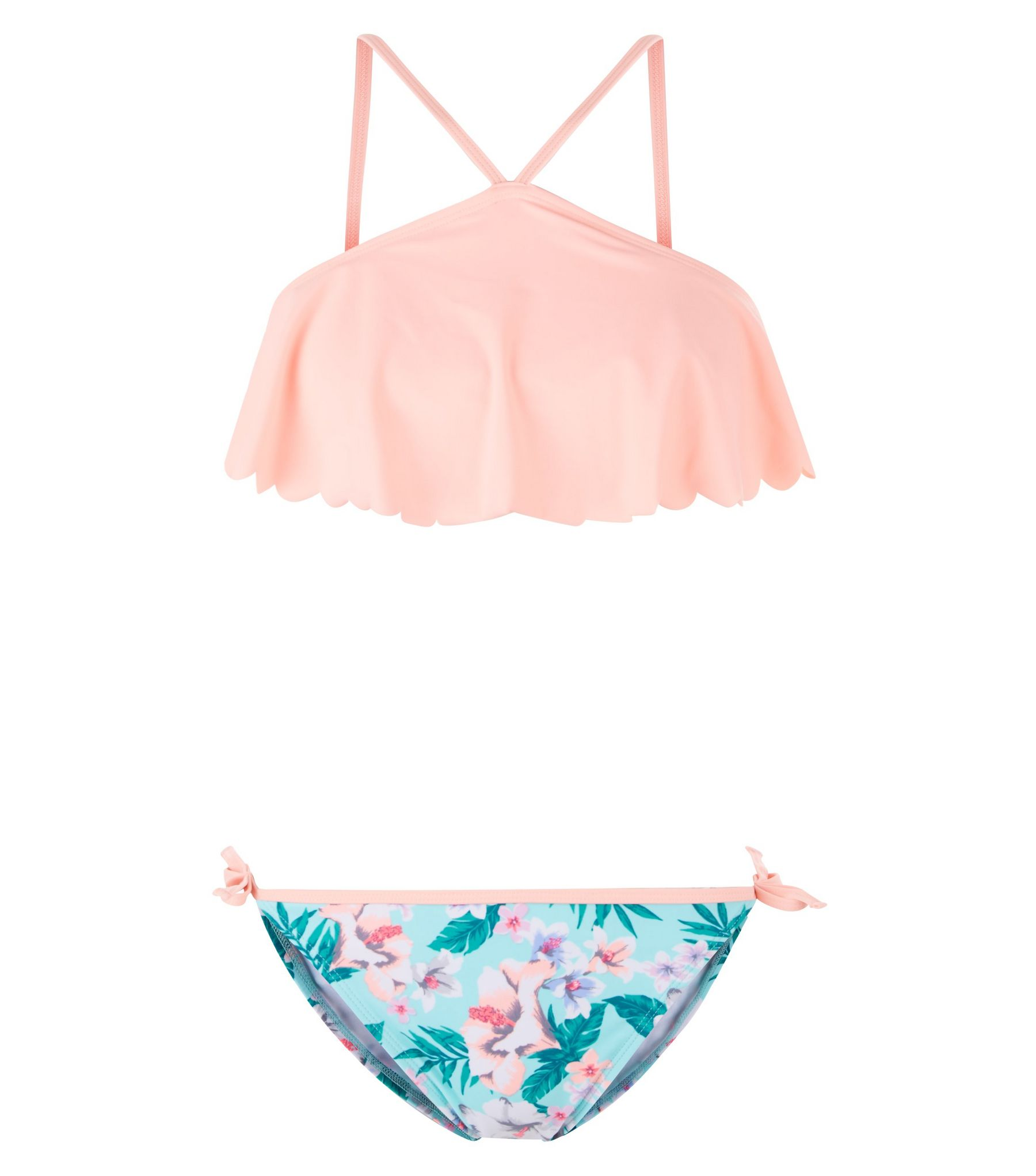 Teens Blue Tropical Print Flounce Bikini Set | New Look