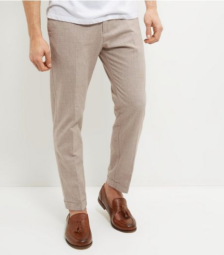 Stone Cotton Crosshatch Trousers  | New Look