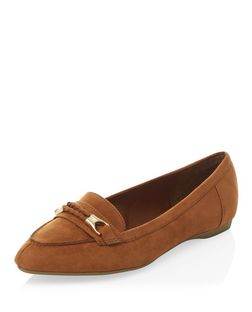 Wide Fit Tan Suedette Woven Trim Pointed Loafers  | New Look