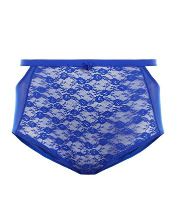 Curves Blue Lace High Waist Briefs