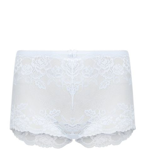 Curves White Lace Short Briefs | New Look