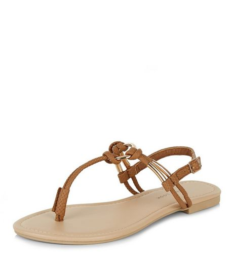 Tan Faux Leather Knotted Sandals  | New Look