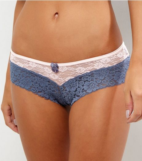Pink Colour Block Lace Brazilian Briefs | New Look