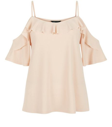 Shell Pink Crepe Flutter Trim Cold Shoulder Top | New Look