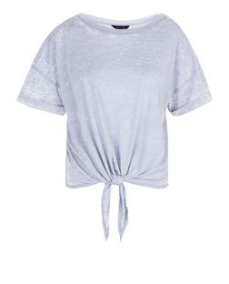 Light Blue Washed Tie Front T-Shirt  | New Look