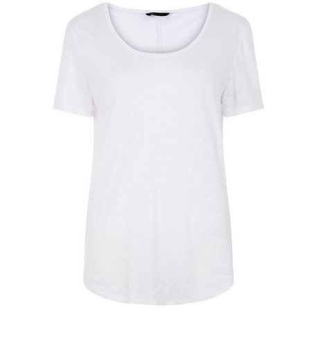 White Linen T-Shirt | New Look