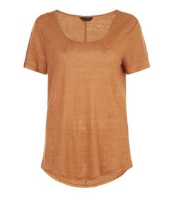 Tan Linen T-Shirt  | New Look