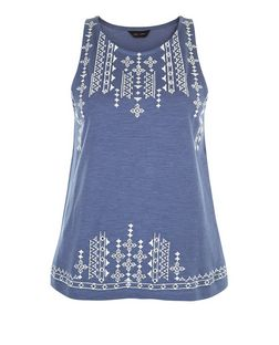 Blue Embroidered Trim Sleeveless Top  | New Look