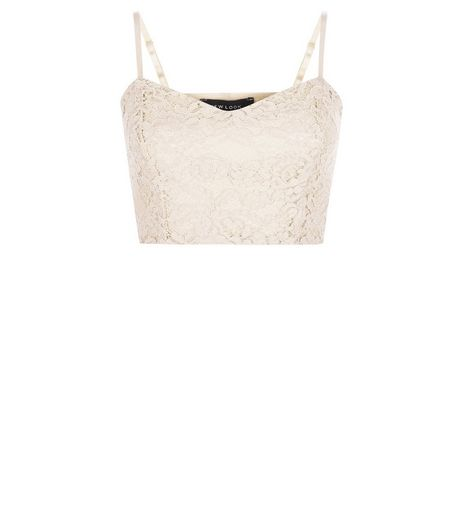 Shell Pink Scuba Lace Overlay Bralet  | New Look