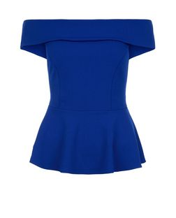 Blue Bardot Neck Peplum Top  | New Look