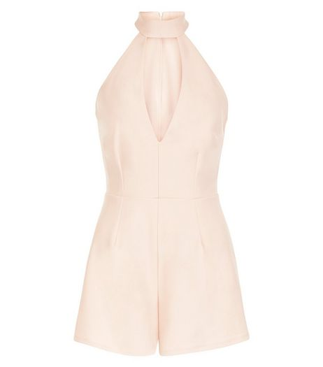 Shell Pink Cut Out Funnel Neck Playsuit  | New Look