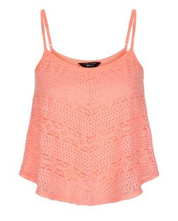 Teens Orange Chevron Lace Cami | New Look