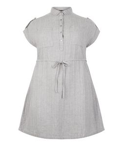 Curves Grey Belted Shirt Dress | New Look