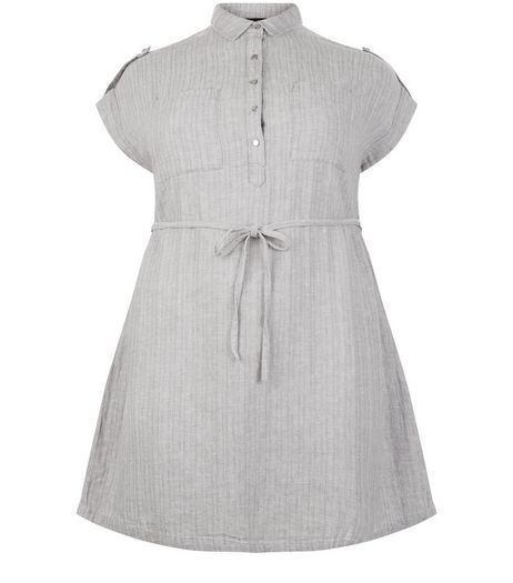 Curves Grey Linen Mix Belted Shirt Dress | New Look