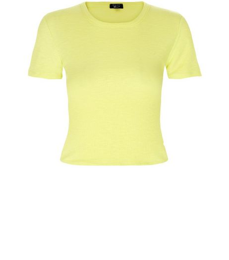 Teens Yellow Ribbed Crop Top | New Look