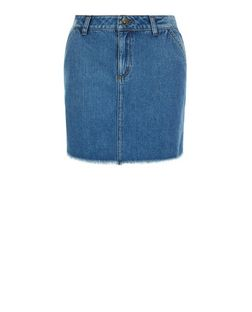 Teens Blue Denim Raw Hem Skirt | New Look